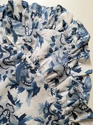 Ralph Lauren Nanking King Shams Ruffled Blue White
