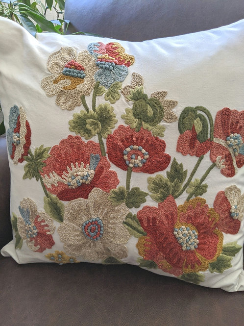 Pottery Barn Crewel Floral Pillow Down Insert