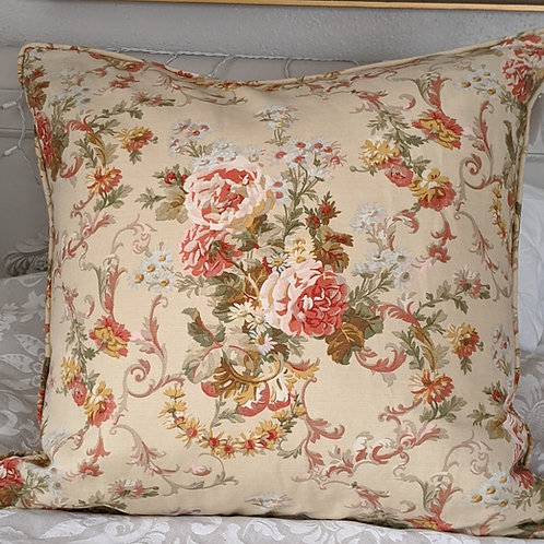 "Floral Scroll Custom Large Pillow 26"" Cream Red Gold Down Insert"