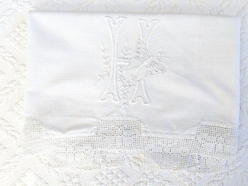 """Monogrammed """"H"""" Vintage Dresser Scarf White Crochet Trim"""
