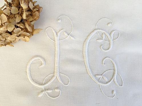 """French Linen Sheet JC Monogram 105""""Lx78""""W Twin"""