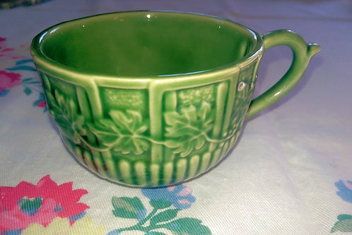 Bordallo Pinheiro~Green Embossed Leaf/Flower Cups