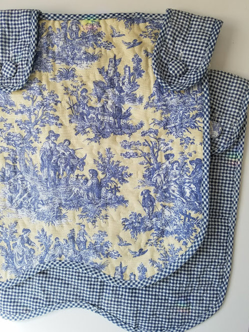 Waverly Summer Retreat Toile Valance Quilted Yellow Blue Gingham