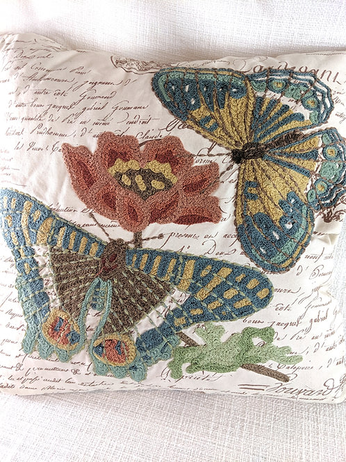Pottery Barn Crewel Embroidery Pillow Floral Butterfly French Script 20X20 Down