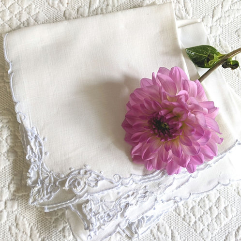Linen Luncheon Napkins White on White Set of 5