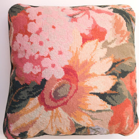 Needlepoint Floral Handmade Pillow Cover