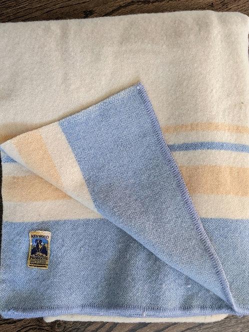 Kenwood Wool Blanket Twin Cream Blue Yellow Stripes