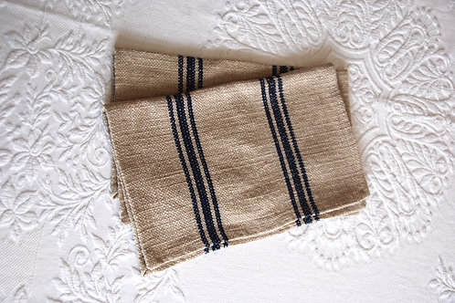 Rustic Woven Oversized Place mat Pair Natural Navy Stripes