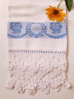 Linen Towel~Blue Design~Crochet Trim Vintage