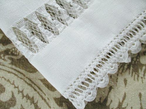 French Linen Standard Pillowcase~White~ Handiwork