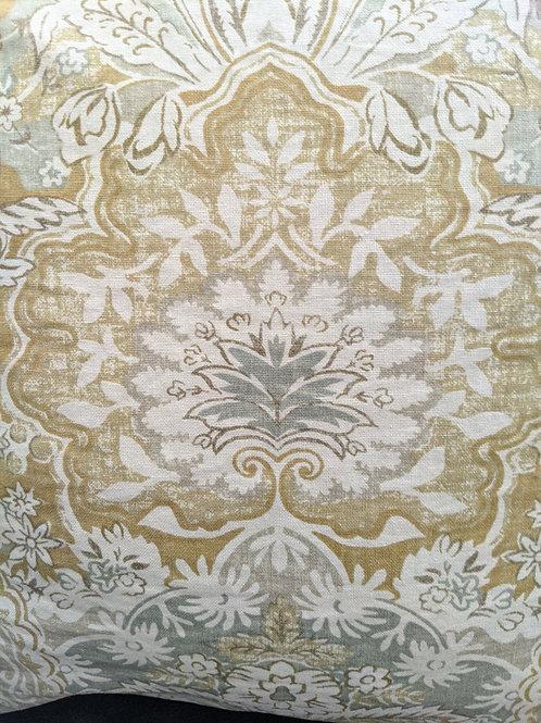 Pottery Barn Linen Pillow Gold Cream Gray Down Insert 20'