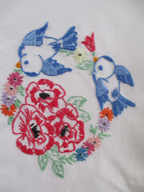 Vintage Hand Embroidered Pillowcase~Birds Flowers