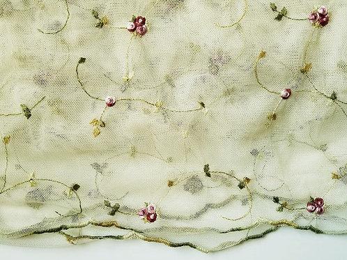 Spring Blossom Sheer Embroidered 1 Panel Ecru Red Pink