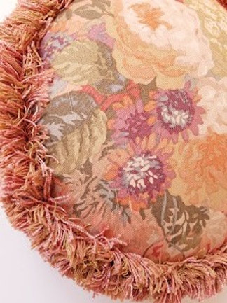 Custom Round Throw Pillow~Floral and Fringe!