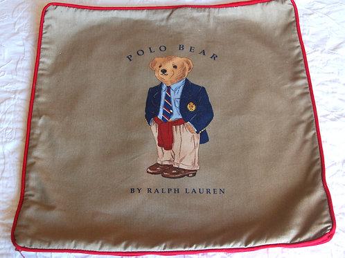 "Ralph Lauren Polo Teddy Bear Red Khaki Chino Decorative Pillow Cover 18"""