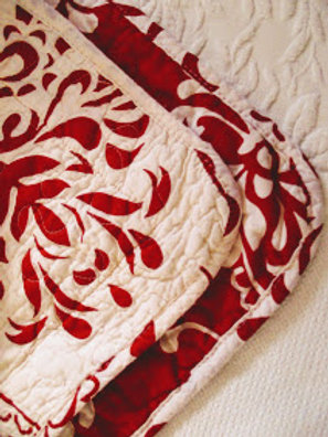 Red White Floral Quilted Standard Sham Cotton