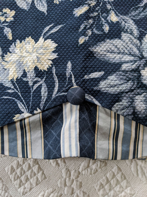 Waverly Valance Ballad Bouquet Indigo Scalloped Striped