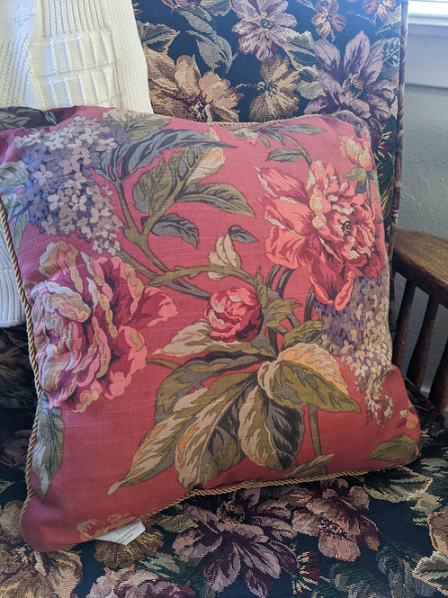 Croscill Pillow~Serena Cottage Flora~Piping 16""