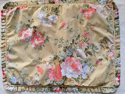 Floral Standard Sham Pleated Ruffle Gold Pink Green