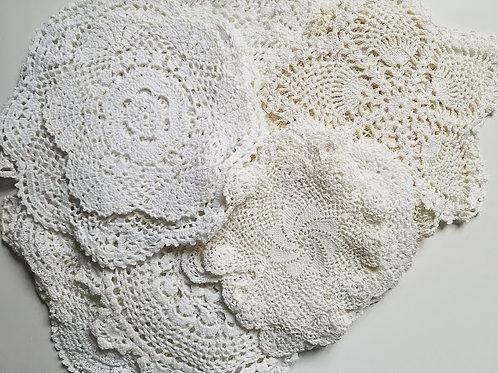 White Doily Set ~20 Piece Crocheted