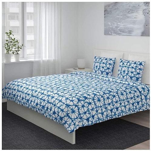 IKEA Stjarnflocka Duvet Cover and Pillowcases White Blue Full/Queen