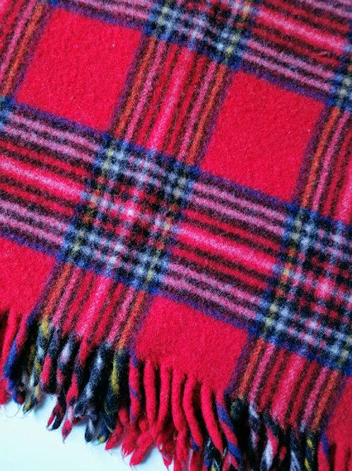 Faribo Red Plaid Wool Blanket Throw Fringe