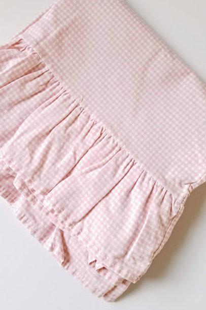 Ralph Lauren Pillow Cases Pink Gingham Standard Ruffle Cotton