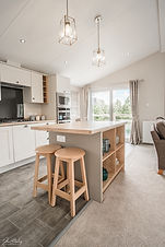 Interior HDR photograph of a kitchen in a lodge at Waveney Valley Lakes