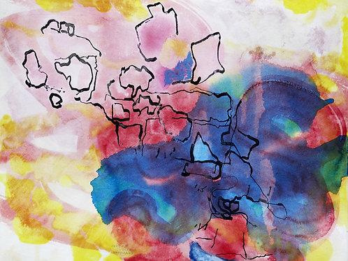 Akvarelbillede Nr. 135, Akvarel, 55 x 75 cm