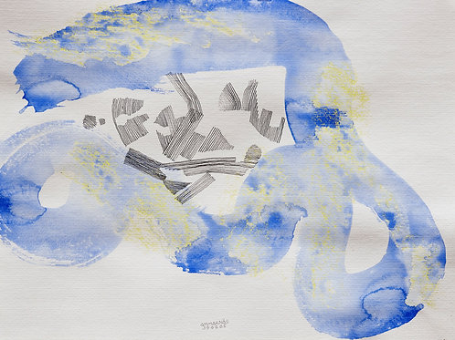 Akvarelbillede Nr. 138, Akvarel, 55 x 75 cm