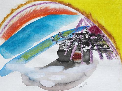 Akvarelbillede Nr. 140, Akvarel, 55 x 75 cm