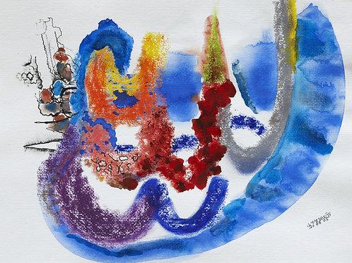 Akvarelbillede Nr. 143, Akvarel, 55 x 75 cm
