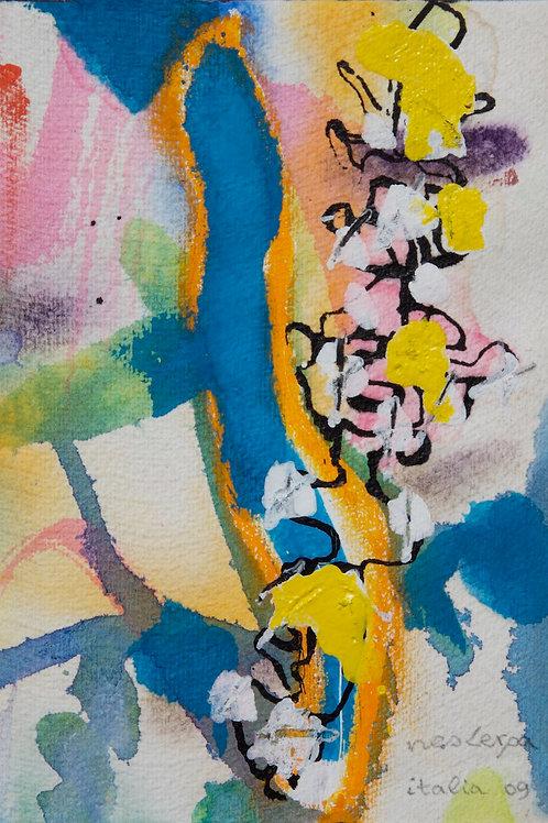 Akvarelbillede Nr. 125, Akvarel, 18 x 12 cm