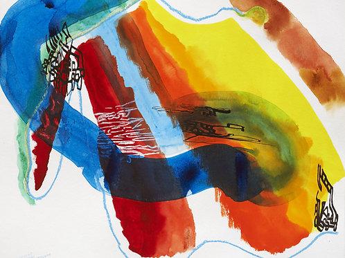 Akvarelbillede Nr. 136, Akvarel, 55 x 75 cm