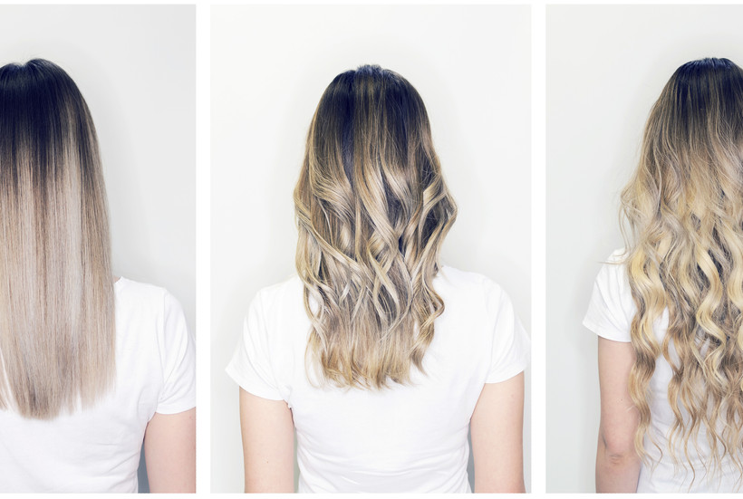 Hair extension or wig step by step tutorial. Blonde long hair with balayage or ombre hairstyle.jpg