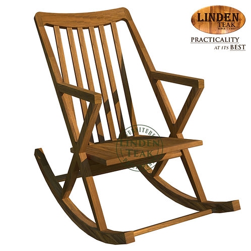 Handcrafted Solid Teak Wood Rocking Chair Furniture