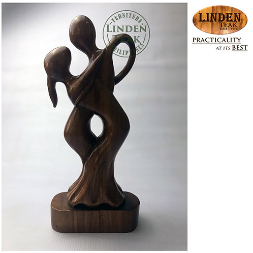 Handcrafted Solid Wood Dancing Couple Wood Sculpture Decor Figurine