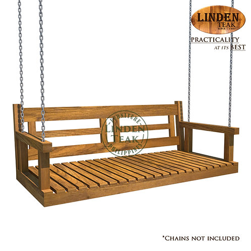 Handcrafted Solid Teak Wood Porch Swing Frame Furniture (Chains not included)