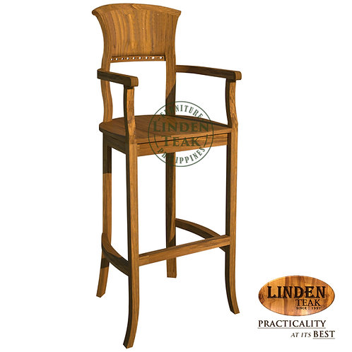 Handcrafted Solid Teak Wood Kipas Bar Chair with Arm Furniture