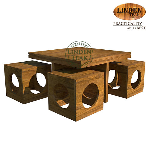 Handcrafted Solid Teak Wood Cube Accent Set Furniture
