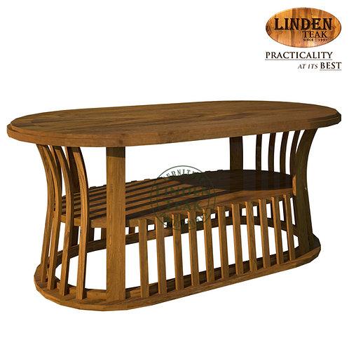 Handcrafted Solid Teak Wood Basket Center Table Solid Top Furniture