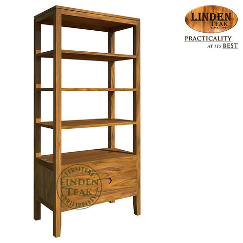 Handcrafted Solid Teak Wood Shelf with DrawersFurniture