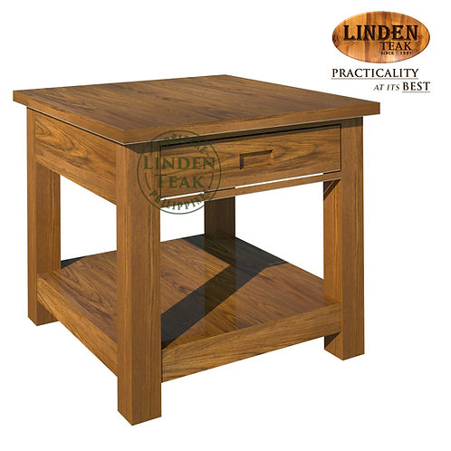 Handcrafted Solid Teak Wood Minimalist Side Table with Drawer Furniture