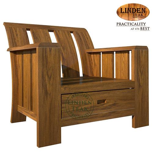 Handcrafted Solid Teak Wood Minimalist 1 Seater Sofa Furniture