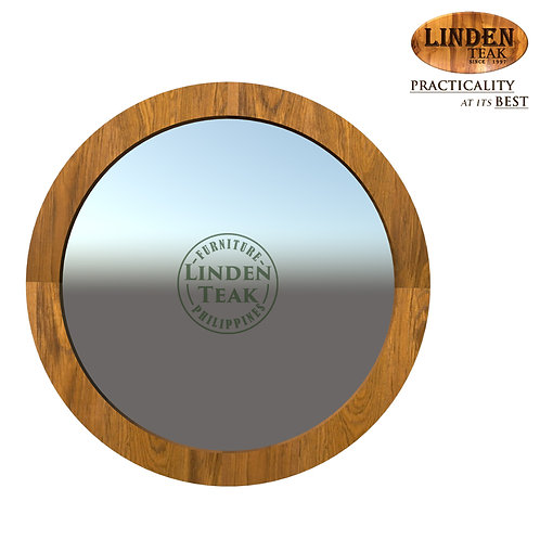 Handcrafted Solid Teak Wood Small Round Jasmine Mirror Furniture