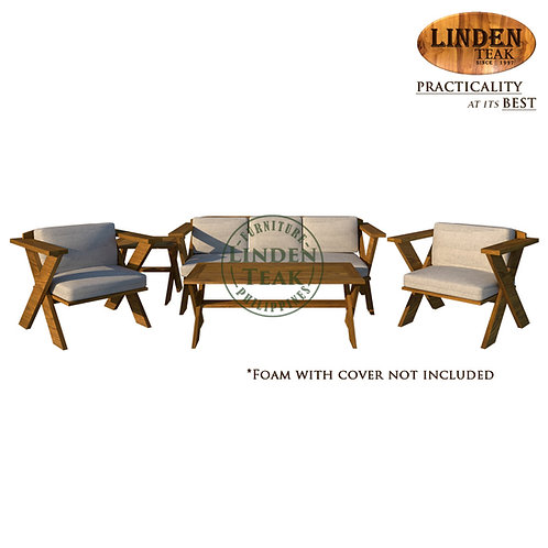Handcrafted Solid Teak Wood Cross Slotted Sofa Set Furniture