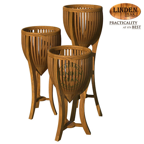 Handcrafted Solid Teak Wood Plant Stand Set Furniture