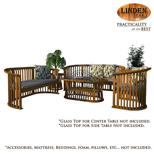 Handcrafted Solid Teak Wood Basket Sofa Set Furniture