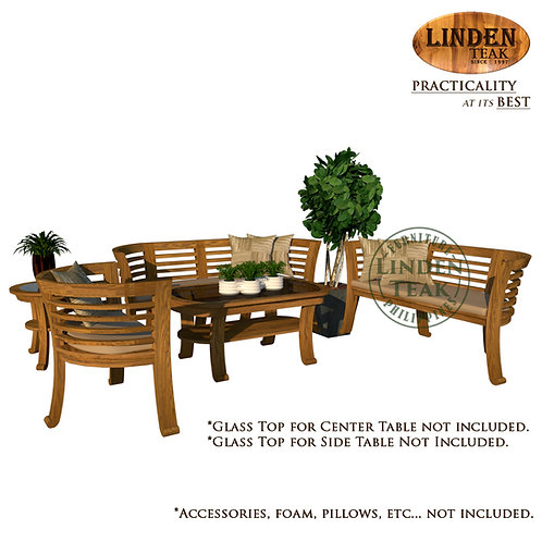 Handcrafted Solid Teak Wood Chantik Sofa Set Furniture