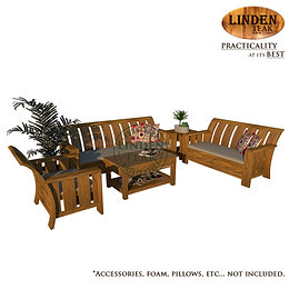 Handcrafted Solid Teak Wood Minimalist Sofa Set Furniture